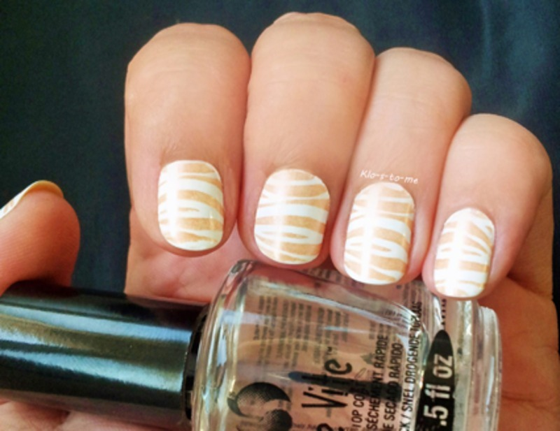 Gold Zebra nail art by klo-s-to-me