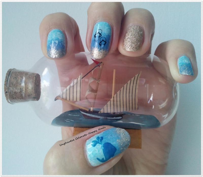 Sea&Ship nail art by Oana  Alexandru