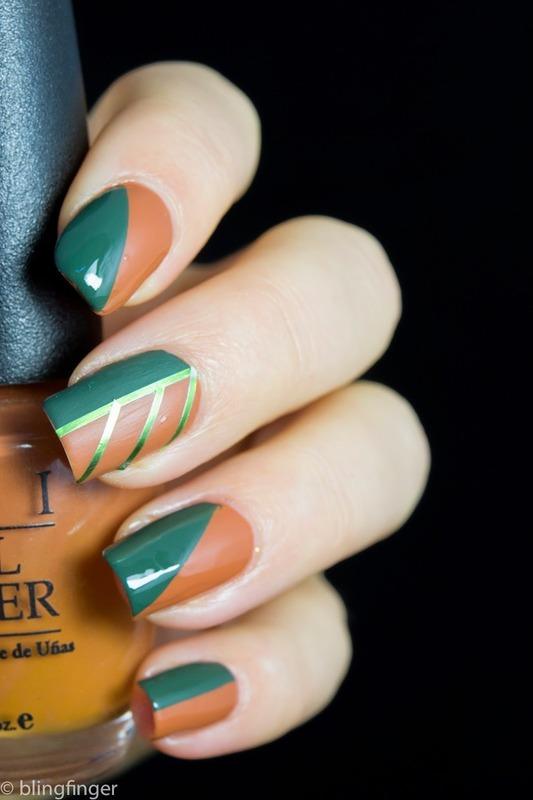 Fall Color Block nail art by  Petra  - Blingfinger