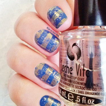 Blue and gold stamping nail art by klo-s-to-me