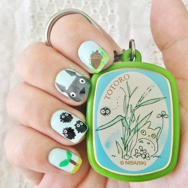 Totoro  nail art by klo-s-to-me