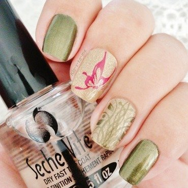 Pink Papillon nail art by klo-s-to-me