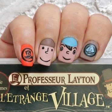Professor Layton Nails nail art by klo-s-to-me