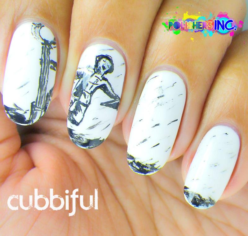 31DC2014 - Day 7: B&W Nails  nail art by Cubbiful