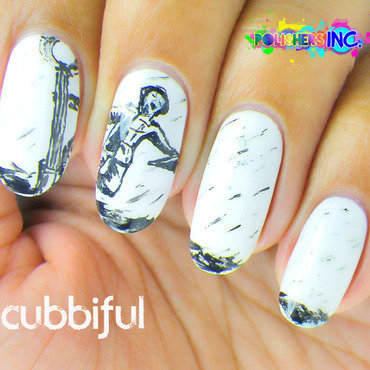 31DC2014 - Day 7: B&W Nails  nail art by Cubbiful