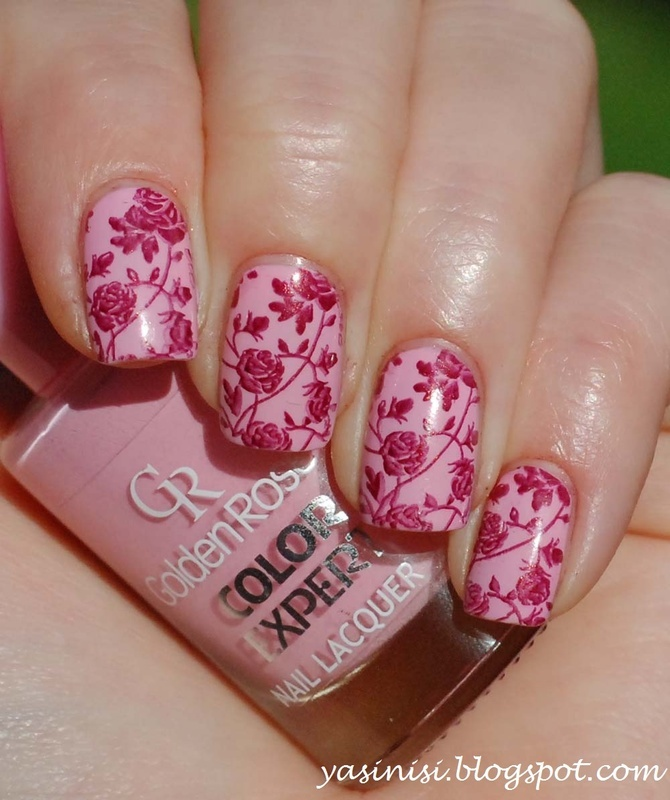 Roses from plate W202 nail art by Yasinisi