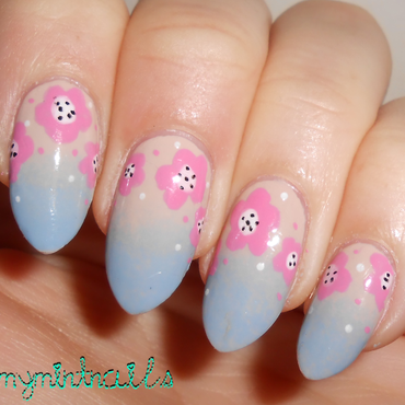 Muted Florals nail art by MyMintNails