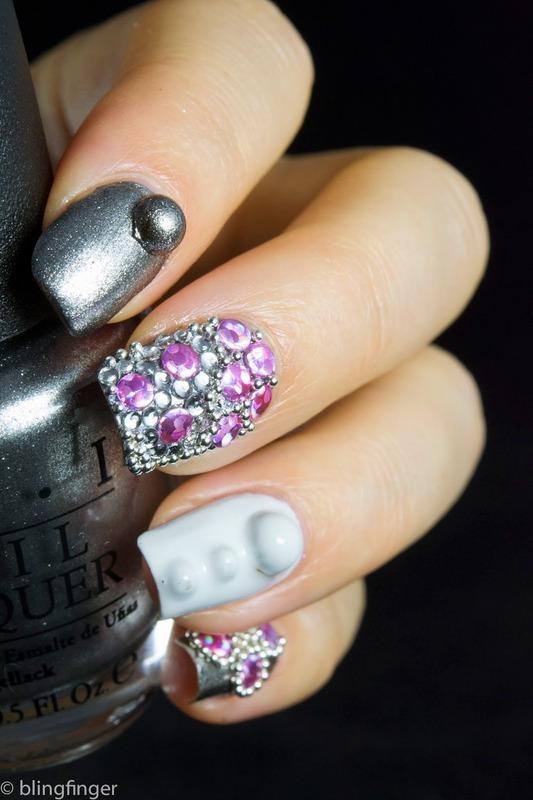 Lavender Studs nail art by  Petra  - Blingfinger