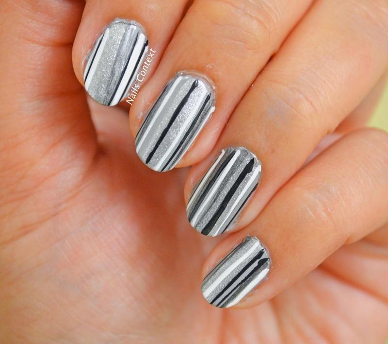 Black n White Stripes nail art by NailsContext