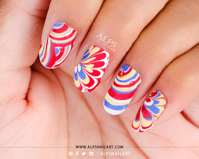 No Mess, No waste Water Marble tutorial by Alpsnailart nail art by ...