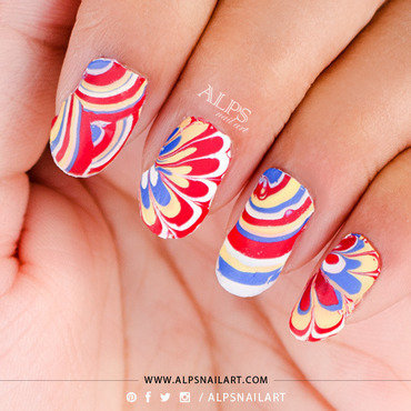 No Mess, No waste Water Marble tutorial by Alpsnailart nail art by Alpsnailart