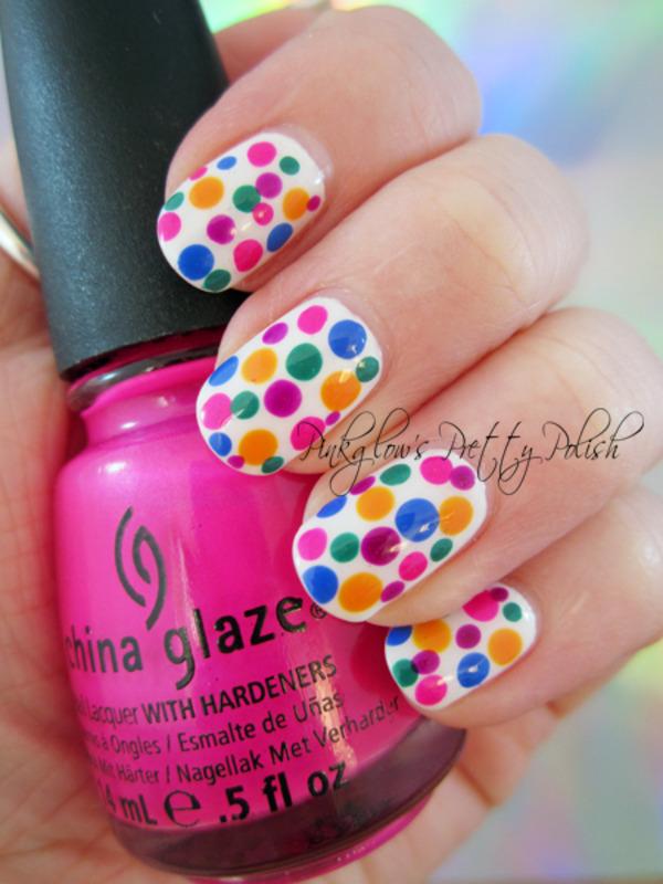 Multicolour Dotticure nail art by Pinkglow