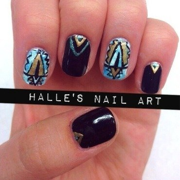 Hipsturquoise nail art by Halle Butler