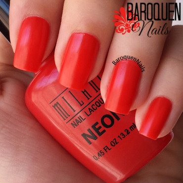 Milani Neon Techno Red Swatch by BaroquenNails