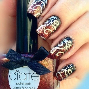 Copper Gradient and Gold Swirls nail art by Debbie