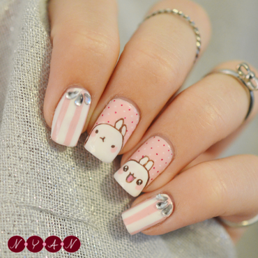 Molang nail art by Becca (nyanails)