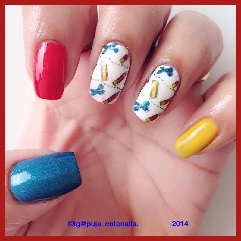 Back to school nails nail art by Puja Malhotra