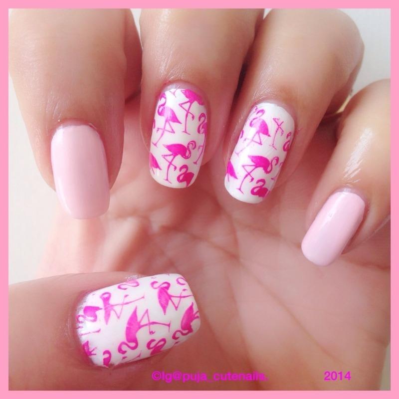 Flamingo nail art nail art by Puja Malhotra