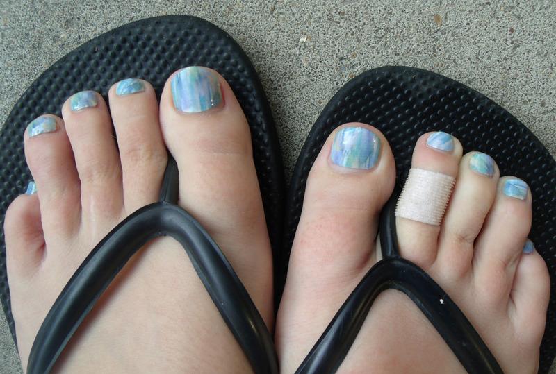 Seascape - Pedi nail art by Toria Mason