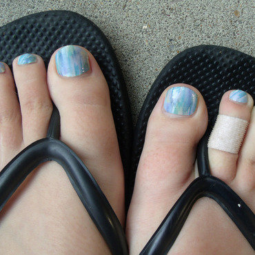 Seascape - Pedi nail art by Toria Mason