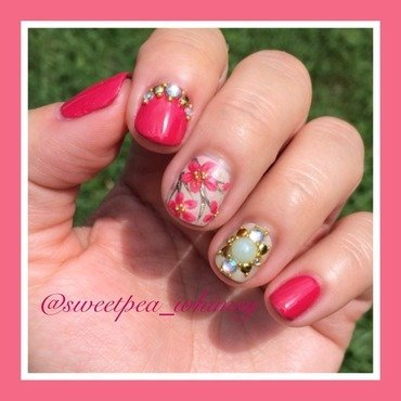 Hot Pink Blossoms with Jewels nail art by SweetPea_Whimsy