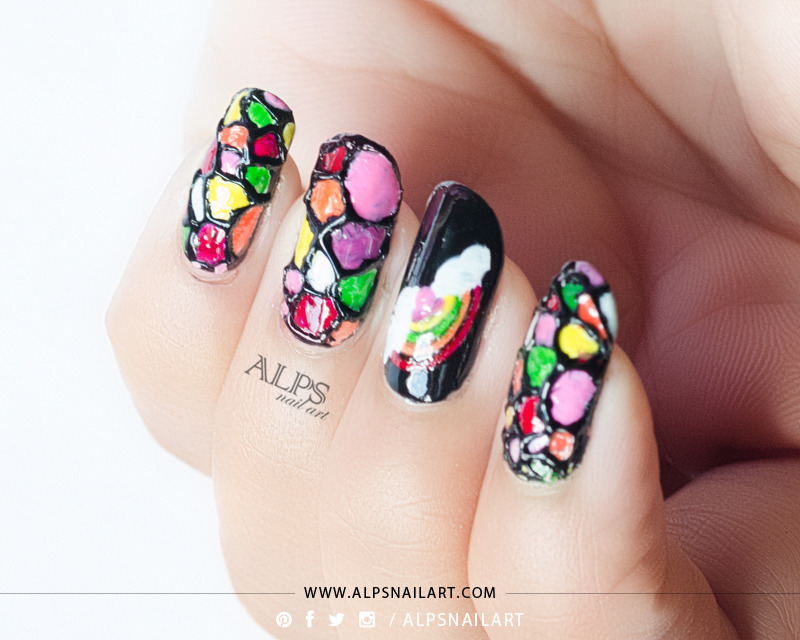 Rainbow Stained Glass Nails Tutorial by @alpsnailart nail art by Alpsnailart