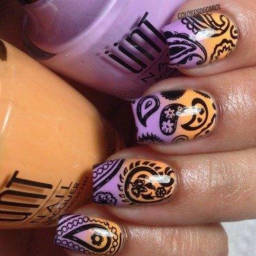 Purple and Tangerine Gradient nail art by Carolina Garcia