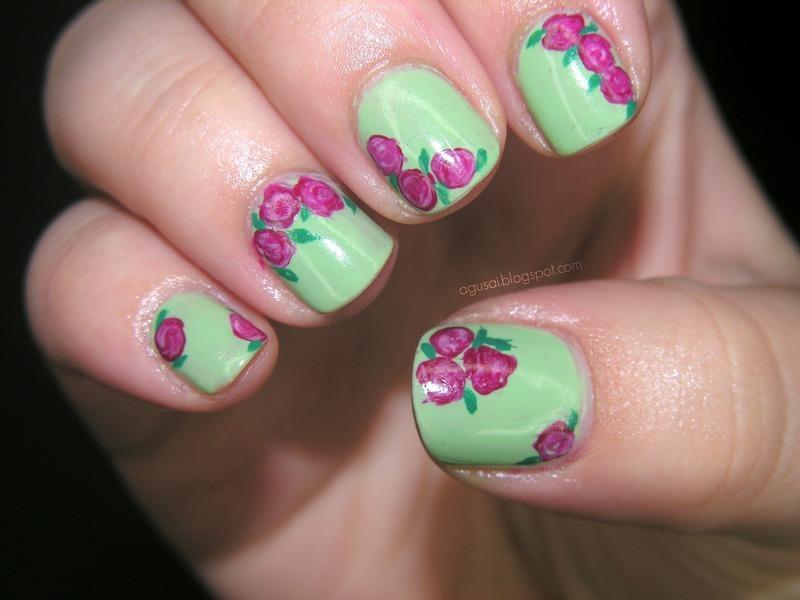 Vintage roses nail art by Agni