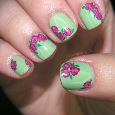 Vintage roses nail art by Agni