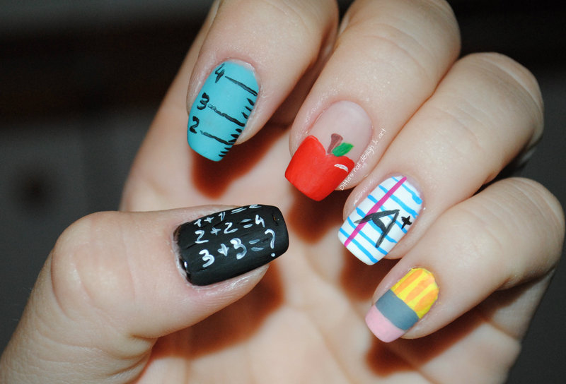 Back to school. nail art by Ditta