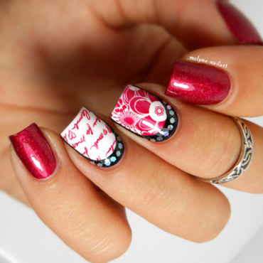 Stamping and ruffian mani nail art by melyne nailart
