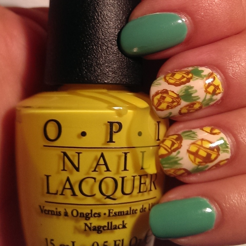 Pineapples nail art by Steph