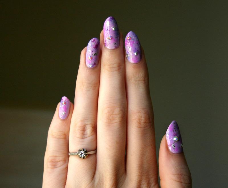 Purple Stardust nail art by ladycrappo
