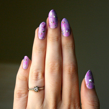Purple Stardust nail art by ladycrappo