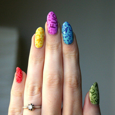 Colorful Language nail art by ladycrappo