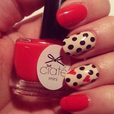 Valentine's Polkadots nail art by Steph