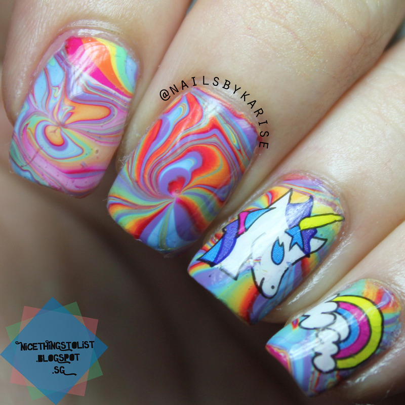 Rainbow Unicorn Water Marble Nail Art By Karise Tan