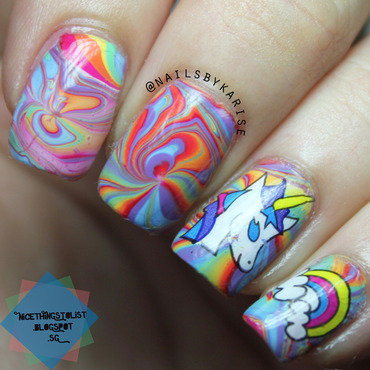 31dc2014 rainbow nails unicorn water marble thumb370f