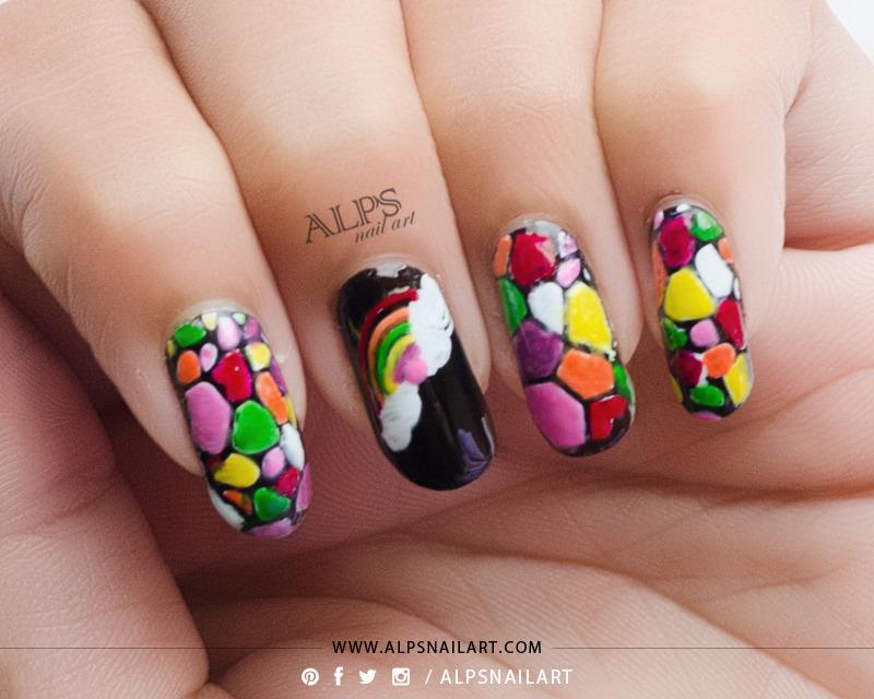 Rainbow Stained Glass Nails Tutorial by Alpsnailart nail art by Alpsnailart