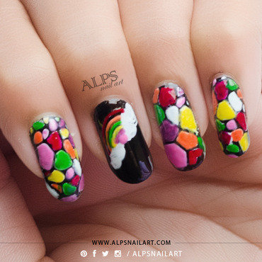 Rainbow Stained Glass Nails Tutorial by Alpsnailart nail art by Alpsnailart