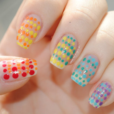 Dotted rainbow nail art by Ditta