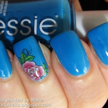 Blue Manicure with Rose Accent nail art by Marie