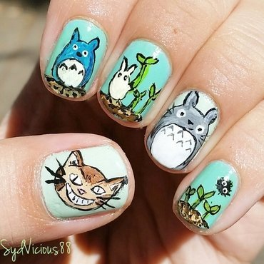 My Neighbor Totoro nail art by SydVicious