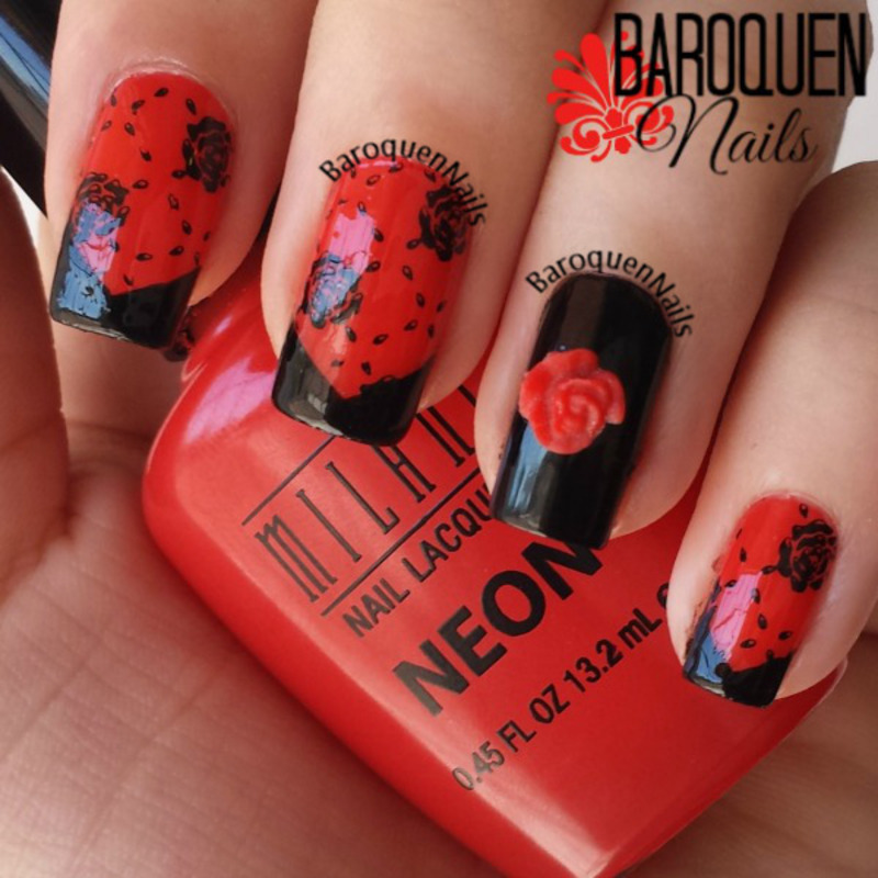 Black And Red Floral French Manicure I nail art by BaroquenNails