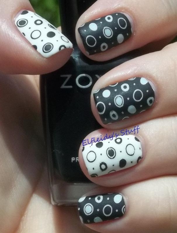 Black and white geometrics nail art by Jenette Maitland-Tomblin