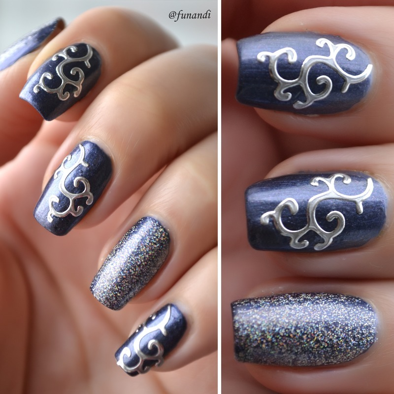 Classy with 3D stickers nail art by Andrea  Manases