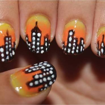 Sunset in the City nail art by ImJanine0812