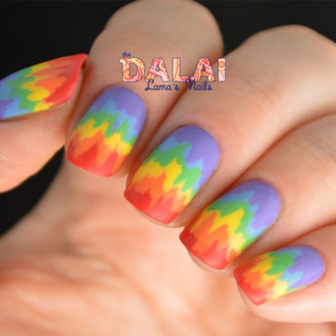 Rainbow Ikat nail art by Hannah
