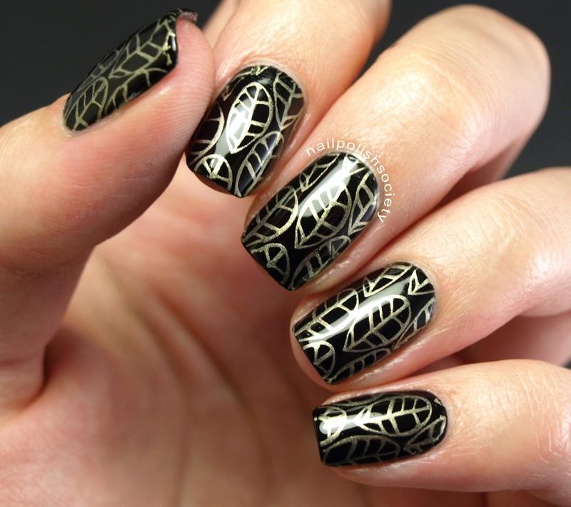 Metallic Gold Leaf nail art by Emiline Harris