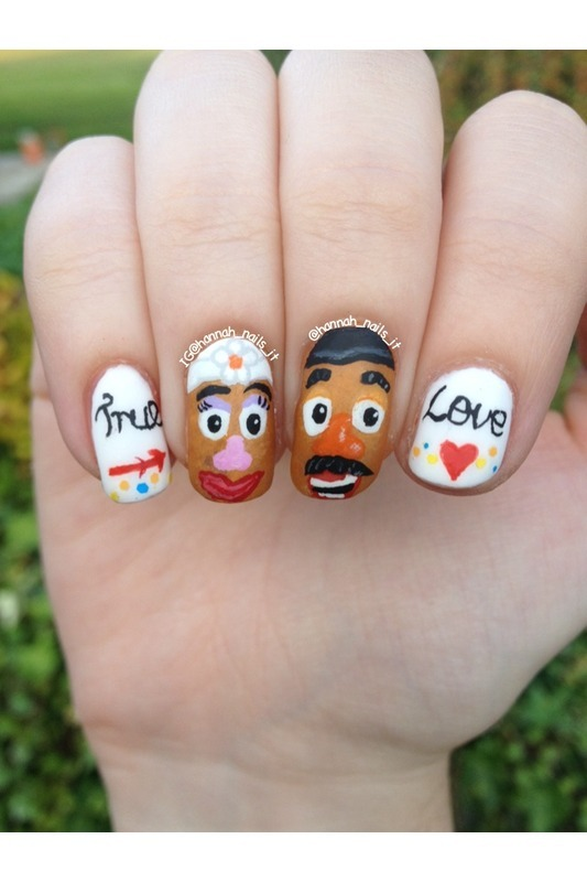 Mr & Mrs Potato Head  nail art by Hannah